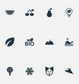set of simple nature icons vector image