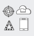 Set smartphone with technology elements icons