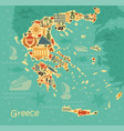 symbols of greece in the form of map vector image vector image