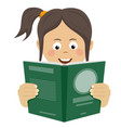 teenager girl reading interesting book vector image vector image