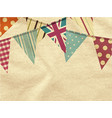 vintage bunting over crumpled material vector image vector image