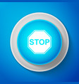 white stop signisolated on blue background vector image vector image