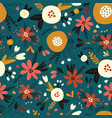 winter autumn flowers and leaves seamless vector image vector image