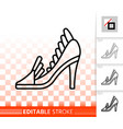 women shoes simple black line icon vector image