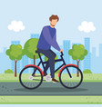 young man in bicycle in the park vector image vector image