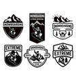 set of snowboarding club emblems design element vector image