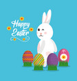 happy easter rabbit with eggs on grass poster vector image