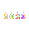 2022 year number shaped birthday candle with fire vector image vector image
