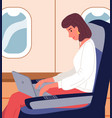 businesswoman with laptop in business class vector image vector image
