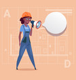 cartoon female builder holding megaphone making vector image vector image