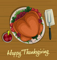 cartoon thanksgiving dish roasted turkey top view vector image vector image