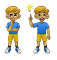 cartoon white boy thinking pose and found idea vector image vector image