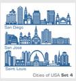 cities usa - san diego san jose saint louis vector image vector image