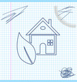 eco friendly house line sketch icon isolated on vector image vector image