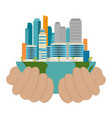 ecology green city scene with hands protection vector image vector image
