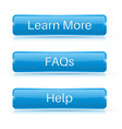 faqs learn more help buttons blue 3d icons vector image vector image
