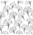 floral seamless pattern with ginkgo leaves black vector image