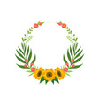 floral wreath with sunflowers circle frame with vector image vector image