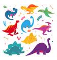 funny cartoon dinosaurs hand drawn style vector image