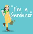 gardener character with watering bucket on sky vector image vector image