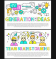 generation of ideas by team brainstorming banner vector image