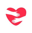 hands embracing heart logo vector image