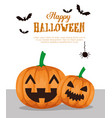 happy halloween card with pumpkins vector image vector image