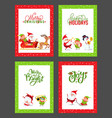 happy new year festive cards with cartoon santa vector image vector image