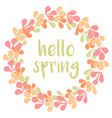 hello spring watercolor pastel wreath card vector image vector image