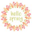hello spring watercolor pastel wreath card vector image