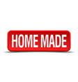 Home made red 3d square button on white background vector image vector image