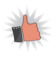 isolated comic thumb up icon vector image