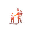 kid good manners boy help grandfather vector image