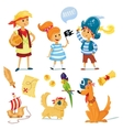 kids and animals dressed like pirates vector image
