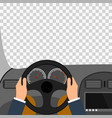 man hands of a driver on steering wheel of a car vector image