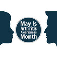 may is national arthritis awareness month holiday vector image vector image