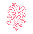 monoline cute pink different size hearts vector image vector image