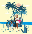 mother with child boy in bikini with beach bag on vector image