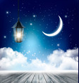 night nature sky background with clouds and stars vector image