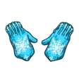 Pair of bright blue winter knitted mittens with vector image vector image