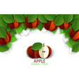 paper cut red apple fruit background frame vector image vector image