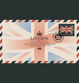 postcard or envelope with flag of united kingdom vector image