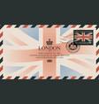 postcard or envelope with flag united kingdom vector image