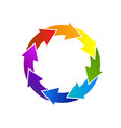 recycle colorful arrows icon logo vector image