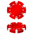 Red casino chip on white vector image vector image