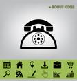 retro telephone sign black icon at gray vector image vector image