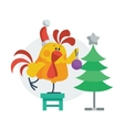 Rooster Bird Decorates Christmas Tree Cock in Hat vector image