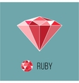 Ruby flat icon with top view Rich luxury symbol vector image vector image