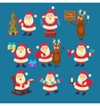 Santa and Deer Collection Christmas vector image vector image