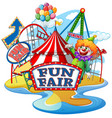 scene with happy clown at fun fair on white vector image vector image